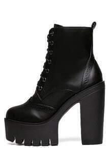 Black Faux Leather Lace Up Side Zipper Platform Ankle Boots