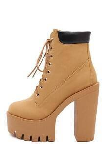 Brown Lace Up Chunky Platform Ankle Boots