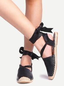 Ribbon Lace Up Black Flats