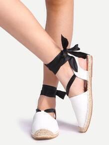 Ribbon Lace Up White Flats