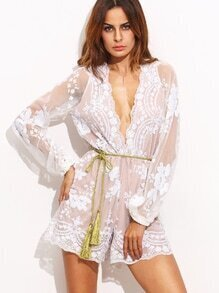 White Deep V Neck Mesh Sequin Romper With Belt