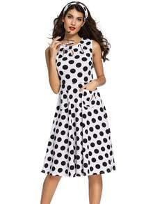 White Polka Dot Cut Out A-Line Dress
