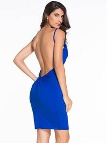 Blue Spaghetti Strap Backless Twist Back Bodycon Dress