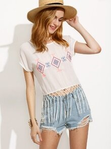 White Embroidered Fringe Chiffon Top