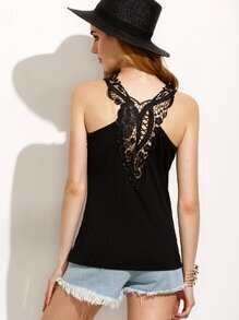 Black Lace Up Crochet Hollow Out Tank Top