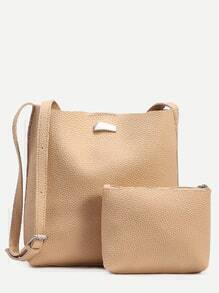Beige Pebbled Faux Leather Crossbody Bag With Makeup Bag