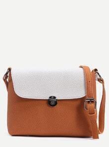 Camel Tassel Trim Contrast Flap Pebbled Crossbody Bag