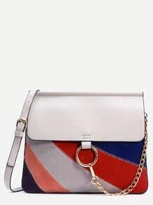 Grey Ring Chain Closure Patchwork Bag
