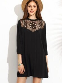 Black Crochet Front Tunic Dress