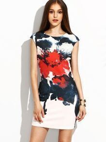 White Flower Ink Painting Print Sheath Dress