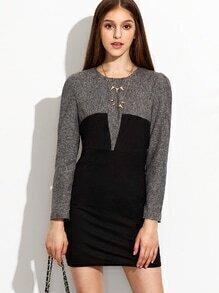 Black Sheath Dress With Contrast Yoke and Sleeve