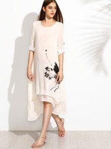 White Ink Painting Print Roll Tab Sleeve Layered Asymmetric Dress