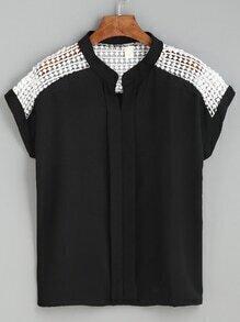 Black Contrast Dot Crochet Yoke Layered Placket Blouse