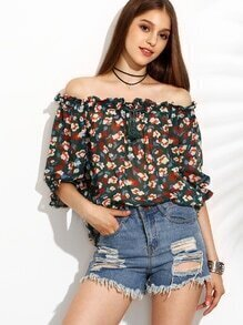 Green Flower Print Ruffle Off The Shoulder Shoulder Top