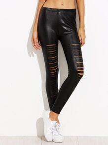 Black Coated Ripped Skinny Leggings
