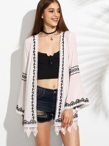 White Crochet Trimmed Embroidered Kimono