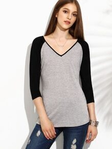 Heather Grey Contrast Raglan Sleeve T-shirt