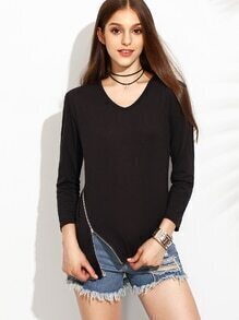 Black Zip Detail Asymmetric T-shirt
