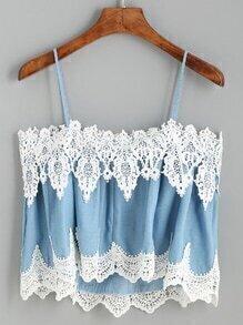 Blue Lace Applique Cami Top