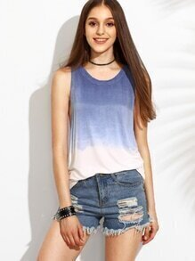 Blue Ombre Drop Armhole Tank Top