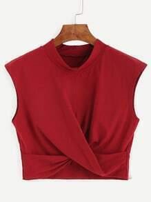 Red Mock Neck Crop Twist Tank Top