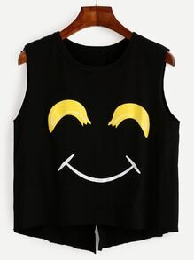 Black Smiley Face Print Open Back Tank Top