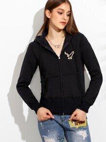 Black Zip Front Embroidered Hooded Sweatshirt