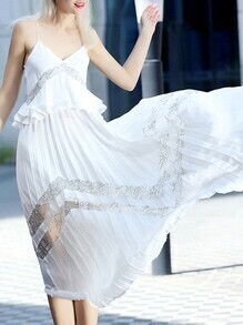 White Spaghetti Strap Peplum Pleated Dress