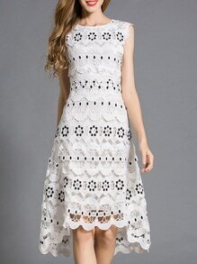 White Crochet Hollow Out Embroidered High Low Dress
