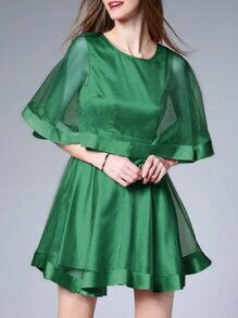 Green Crew Neck Bowknot A-Line Dress