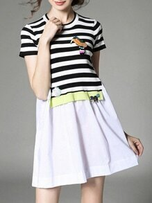 White Black Striped Applique Pouf A-Line Dress
