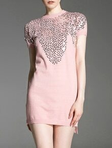 Pink Sequined Knit High Low Dress