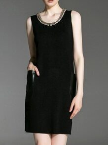 Black Beading Contrast Pu Pockets Dress