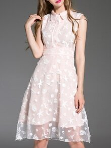 Pink Lapel Gauze Embroidered A-Line Dress