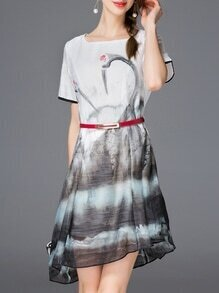 Grey Ink Print Belted Asymmetric Dress