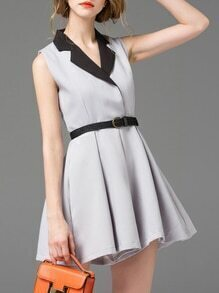Grey V Neck Belted A-Line Dress