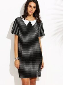 Black Peter Pan Collar Stripe Dress