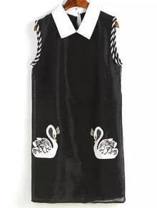 Black Peter Pan Collar Swan Printed Dress