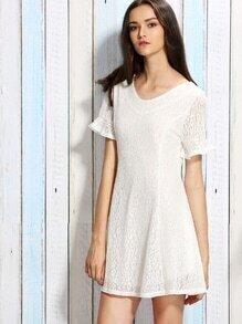 White Ruffle Sleeve Bow Back Lace Dress