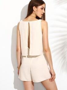 Apricot Sleeveless Open Back Siamese Trousers