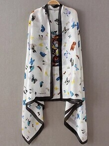 White Printed Asymmetric Scarf