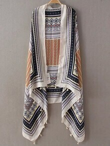 Orange Printed Asymmetric Tassel Scarf