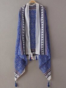 Royal Blue Printed Asymmetric Tassel Scarf