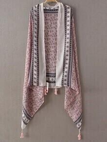Pink Printed Asymmetric Tassel Scarf