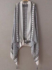 Grey Printed Asymmetric Tassel Scarf