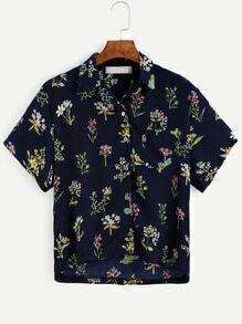 Navy Flower Print Buttons Front Dip Hem Blouse