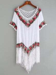 White Crochet Insert Fringe Hem Top