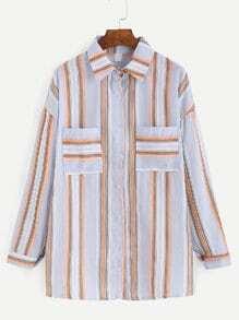 Mixed Stripe Buttons Front Drop Shoulder Blouse