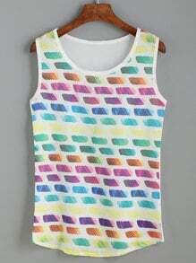Multicolor Print High Low Tank Top