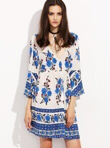 Blue Flower Print Double V Neck Bell Sleeve Dress